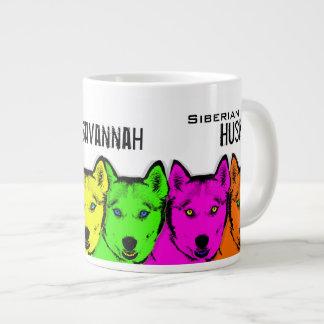 Husky siberiano personalizado del arte pop taza grande