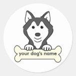 Husky siberiano personalizado pegatinas redondas