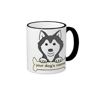 Husky siberiano personalizado taza a dos colores