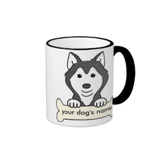 Husky siberiano personalizado taza de dos colores