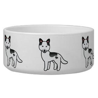 Husky siberiano picazo negro del dibujo animado tazon para perro
