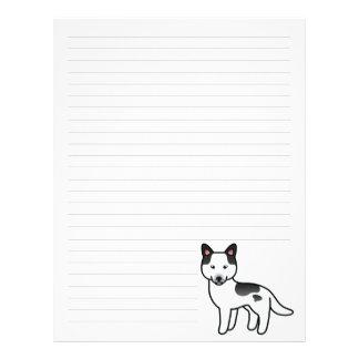 Husky siberiano picazo negro del dibujo animado membrete personalizado