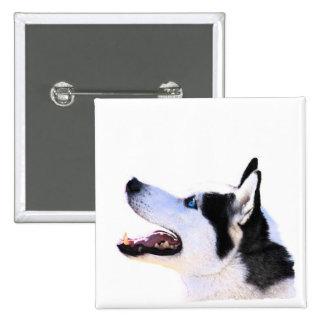 husky siberiano pin cuadrada 5 cm