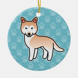 Husky siberiano rojo claro del dibujo animado adorno redondo de cerámica