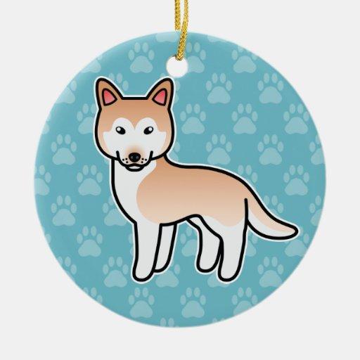 Husky siberiano rojo claro del dibujo animado adornos