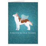 Husky siberiano - rojo - diseño conmemorativo del tarjeta de felicitación