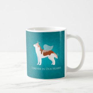 Husky siberiano - rojo - diseño conmemorativo del taza básica blanca