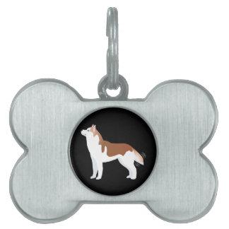 Husky siberiano - rojo - diseño de la plantilla de placa de mascota