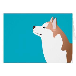 Husky siberiano - rojo - diseño de la plantilla de tarjeta de felicitación