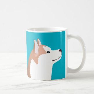 Husky siberiano - rojo - diseño de la plantilla de taza clásica