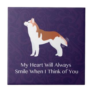 Husky siberiano - rojo - que piensa en usted azulejo cuadrado pequeño