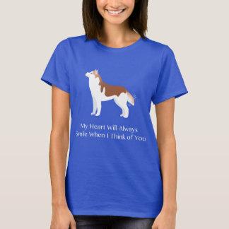 Husky siberiano - rojo - que piensa en usted playera