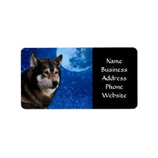 Husky siberiano y la luna azul etiquetas de dirección