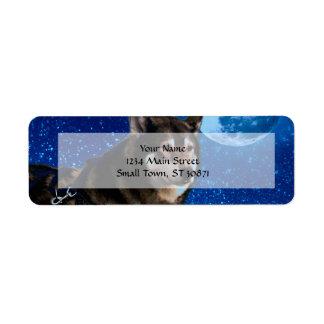 Husky siberiano y la luna azul etiquetas de remite