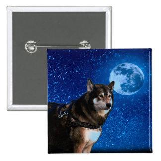 Husky siberiano y la luna azul chapa cuadrada 5 cm