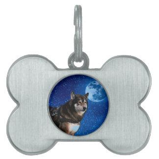 Husky siberiano y la luna azul placa de nombre de mascota
