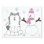 Husky siberiano y muñeco de nieve anuncio