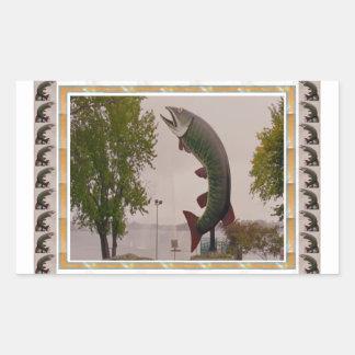 Husky The Muskie Fish  Roadside Show ON Canada Rectangular Sticker