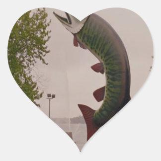 Husky The Muskie Fish  Roadside Show ON Canada Heart Sticker