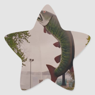 Husky The Muskie Fish  Roadside Show ON Canada Star Sticker