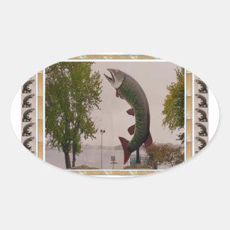 Husky The Muskie Fish  Roadside Show ON Canada Oval Sticker