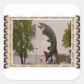Husky The Muskie Fish  Roadside Show ON Canada Square Sticker
