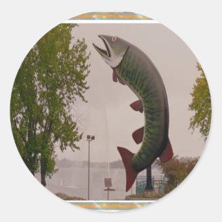Husky The Muskie Fish  Roadside Show ON Canada Classic Round Sticker