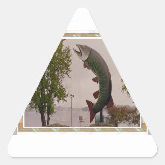 Husky The Muskie Fish  Roadside Show ON Canada Triangle Sticker