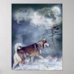 Husky-Winter Spirit Art Poster/Print