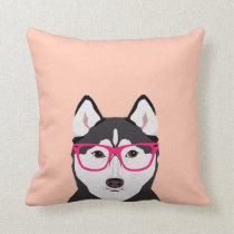 Husky with Glasses - Dog with Hipster glasses Throw Pillow