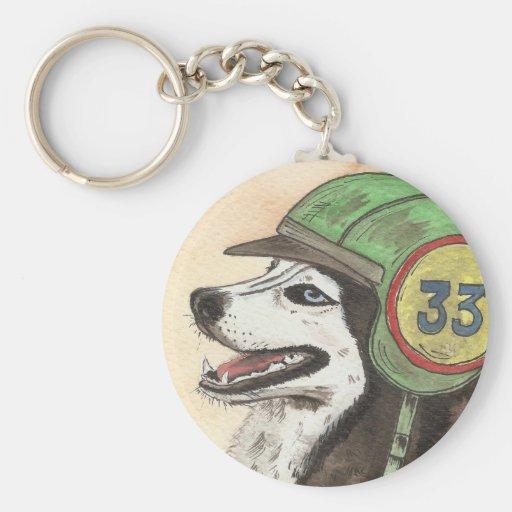 Husky with helmet motorist key chains