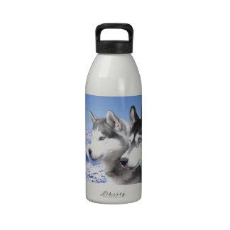Huskyes siberianos botella de agua