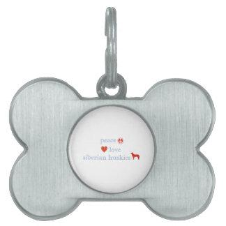 Huskyes siberianos del amor de la paz placas de nombre de mascota