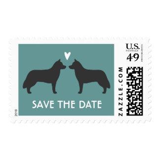 Huskyes siberianos que casan reserva la fecha franqueo