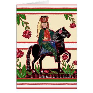 Hussar on Horseback - Cavalry Officer, Folk Art Cards