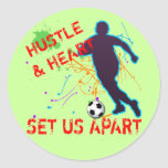 HUSTLE AND HEART CLASSIC ROUND STICKER
