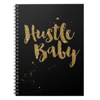 Hustle Baby Notebook, gold glitter brush script Notebook