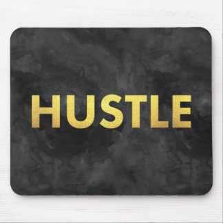 Hustle Gold Watercolor Modern Typography Mousepad