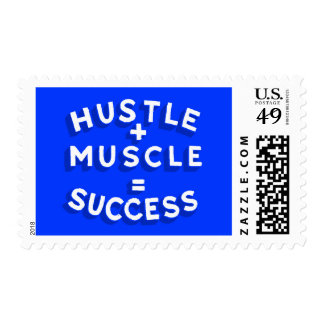 HUSTLE PLUS MUSCLE EQUALS SUCCESS MOTIVATIONAL SAY POSTAGE