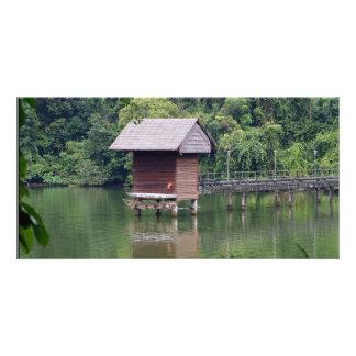 Hut and Lake Scene Photo Card