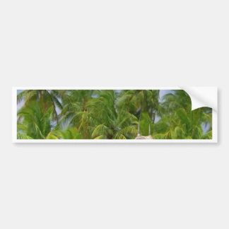 Hut and Trees at the beaches of Maldive Islands Bumper Sticker