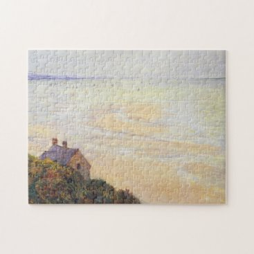 Beach Themed Hut at Trouville Low Tide Monet Fine Art Jigsaw Puzzle