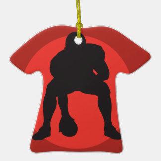 hut hut quarterback football silhouette design Double-Sided T-Shirt ceramic christmas ornament