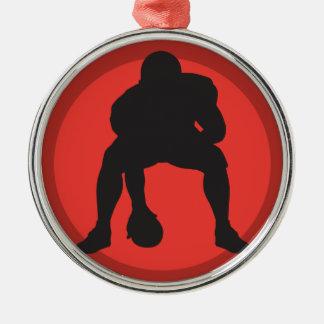 hut hut quarterback football silhouette design round metal christmas ornament