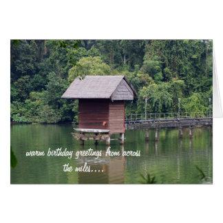 Hut on a Lake Birthday Card