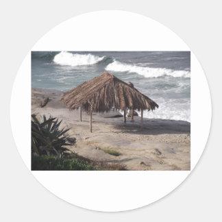 Hut On the Beach Classic Round Sticker