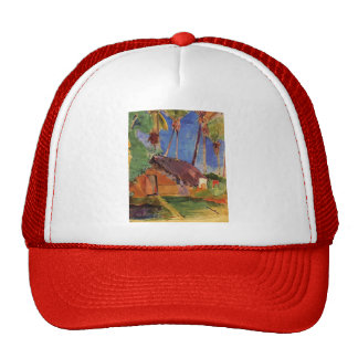 Hut under the coconut palms by Paul Gauguin Hat