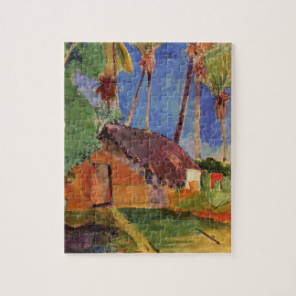 Hut under the coconut palms by Paul Gauguin Jigsaw Puzzle