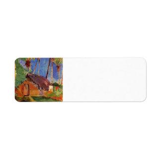 Hut under the coconut palms by Paul Gauguin Return Address Label