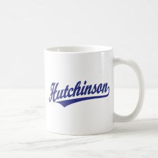 Hutchinson script logo in blue coffee mugs